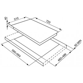 SMEG GAS HOB PV175S STOPSOL® SUPERSILVER GLASS 72 CM