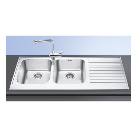 SMEG LPD116D KITCHEN SINK 2 BOWLS PIANO DESIGN POLISHED STAINLESS STEEL