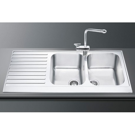 SMEG LPD116S KITCHEN SINK 2 BOWLS PIANO DESIGN POLISHED STAINLESS STEEL