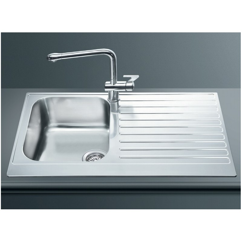 Smeg lpd861d kitchen sink 1 bowl piano design stainless for Designer stainless steel sinks