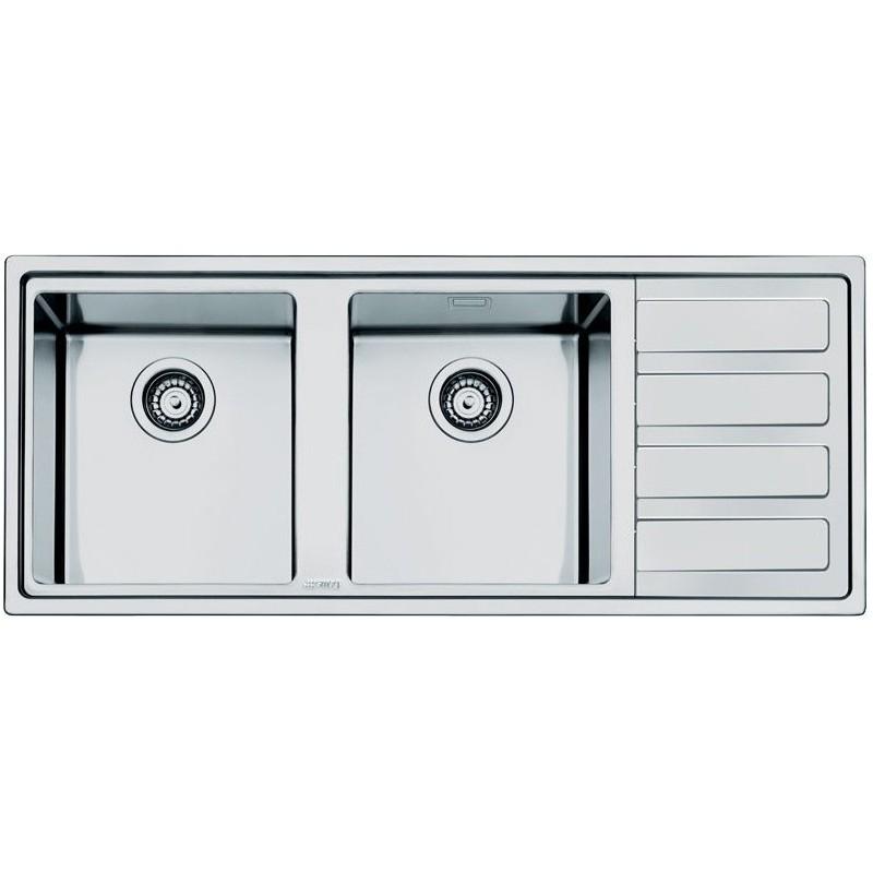 smeg ld116d 2 vier 2 cuves acier inoxydable bross fab. Black Bedroom Furniture Sets. Home Design Ideas