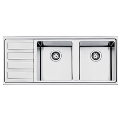Smeg ld116s 2 vier 2 cuves acier inoxydable bross fab for Evier 116 cm