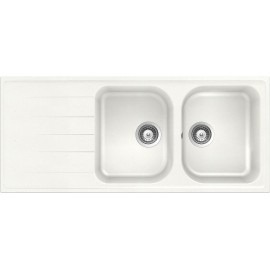 SCHOCK KITCHEN SINK LITHOS D200 A - 2 BOWLS CRISTALITE ALPINA WHITE