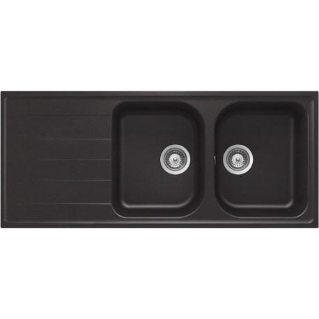 SCHOCK LITHOS ÉVIER 2 CUVES D200 A CRISTALITE BLANC ALPINA 116x50
