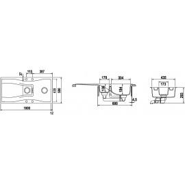 SCHOCK KITCHEN SINK WATERFALL D150 A - 1.5 BOWL CRISTADUR POLARIS EXTRA WHITE