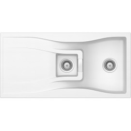 SCHOCK KITCHEN SINK WATERFALL D150 A - 1.5 BOWL CRISTADUR POLARIS EXTRA WHITE