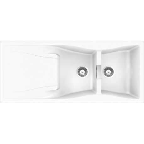 SCHOCK KITCHEN SINK WATERFALL D200 A - 2 BOWLS CRISTADUR POLARIS EXTRA WHITE