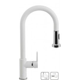 SCHOCK AQUAALTO SINGLE LEVER SINK MIXER TAP WITH PULL OUT SPRAY WHITE ALPINA