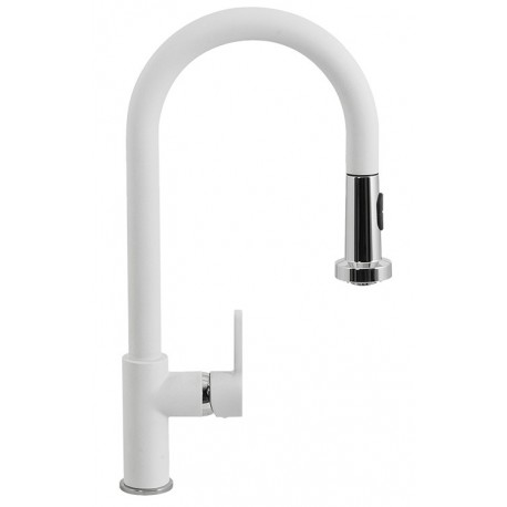 SCHOCK AQUAALTO SINGLE LEVER SINK MIXER TAP WITH PULL OUT SPRAY POLARIS EXTRA WHITE