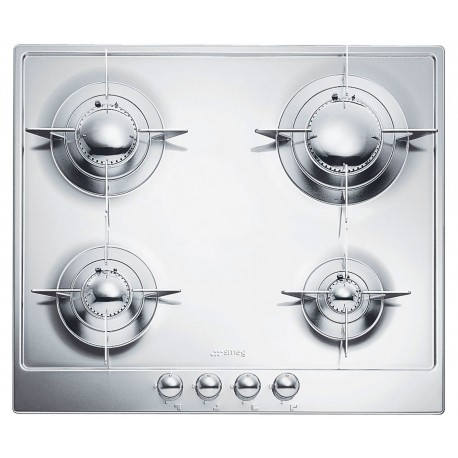SMEG GAS HOB P64ES POLISHED STAINLESS STEEL 60 CM PIANO DESIGN