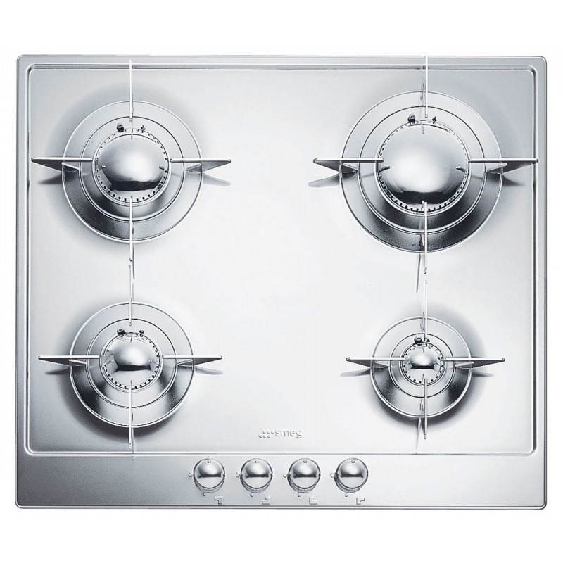 SMEG GAS HOB P64ES POLISHED STAINLESS STEEL 60 CM PIANO DESIGN |FAB...