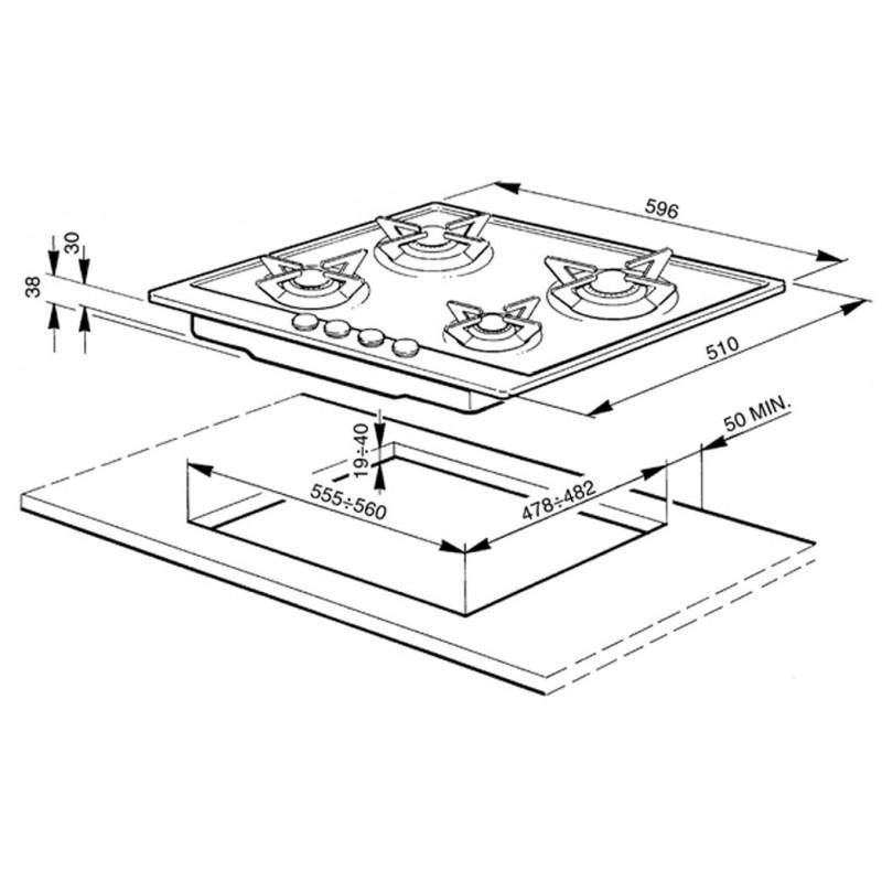 Smeg Renzo Piano-Piattelli Stainless flame hob kitchen 5 fires