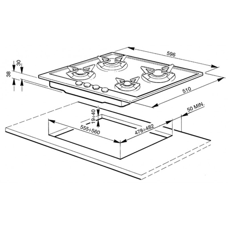 smeg gaskochfeld p64es edelstahl poliert 60 cm fab appliances. Black Bedroom Furniture Sets. Home Design Ideas