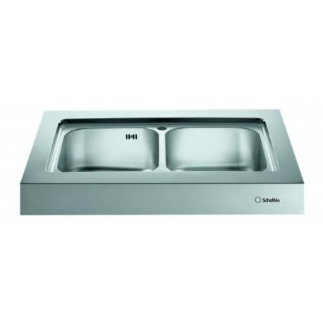 SCHOLTES EP902 KITCHEN SINK UNIT DOUBLE BOWL STAINLESS STEEL 900x65...