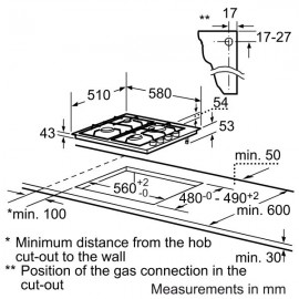 BOSCH GAS HOB PBP6B5B80 STAINLESS STEEL 60 CM