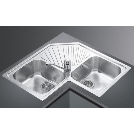 Stainless Steel Corner Kitchen Sink : SMEG KITCHEN CORNER SINK ALBA SP2A - 2 BOWLS STAINLESS STEEL FAB A...