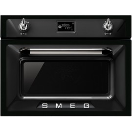 SMEG COMPACT MICROWAVE OVEN WITH GRILL SF4920MCN BLACK VICTORIA DESIGN 60 CM