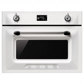 SMEG COMPACT MICROWAVE OVEN WITH GRILL SF4920MCB WHITE VICTORIA DESIGN 60 CM