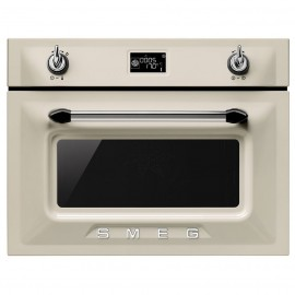 SMEG COMPACT MICROWAVE OVEN WITH GRILL SF4920MCP CREAM VICTORIA DESIGN 60 CM