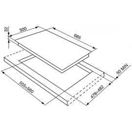 TABLE DE CUISSON SMEG SR975BGH BLANC ESTHÉTIQUE VICTORIA 70 CM