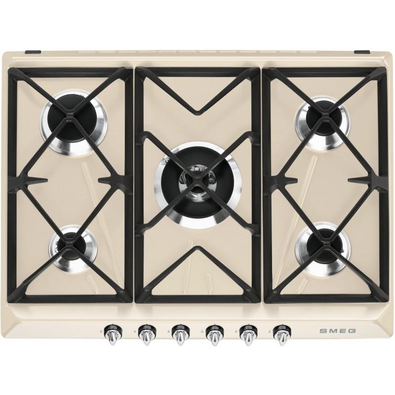 Smeg gas hob sr975pgh cream victoria line 70 cm fab appliances - Gaziniere smeg 5 feux ...