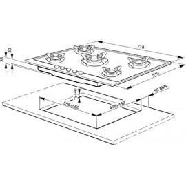 TABLE DE CUISSON SMEG P64ES INOX BRILLANT 60 CM