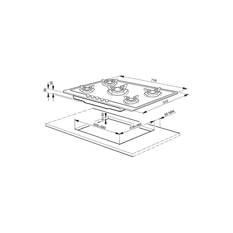 smeg gaskochfeld p705es edelstahl poliert 72 cm fab. Black Bedroom Furniture Sets. Home Design Ideas