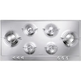 SMEG GAS HOB P106ES POLISHED STAINLESS STEEL 100 CM PIANO DESIGN