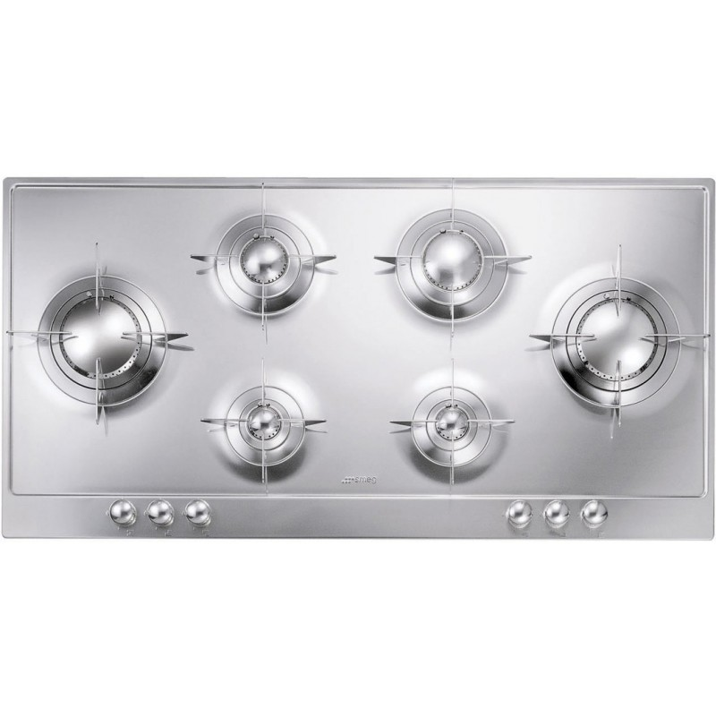 SMEG GAS HOB P106ES POLISHED STAINLESS STEEL 100 CM PIANO DESIGN |F...