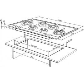 SMEG GAS HOB P106ES POLISHED STAINLESS STEEL 100 CM PIANO DESIGN
