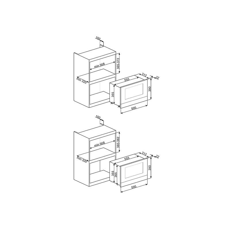 smeg einbau mikrowelle mit elektrogrill mp122 edelstahl