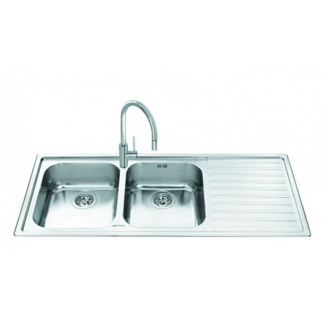 SMEG LL116D KITCHEN SINK 2 BOWLS BRUSHED STAINLESS STEEL