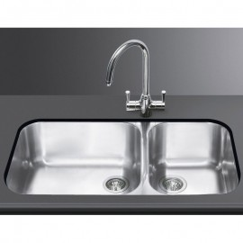 SMEG UM4530 KITCHEN SINK UNDERMOUNTED 2 BOWLS BRUSHED STAINLESS STEEL