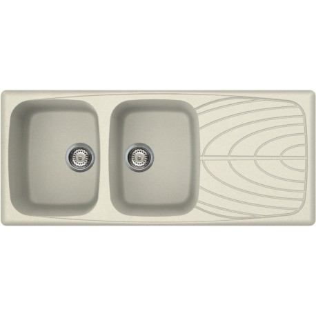 ELLECI KITCHEN SINK MASTER 500 2 BOWLS ANCIENT WHITE MADE IN ITALY