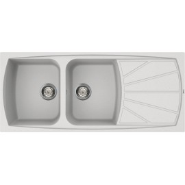 FREGADERO ELLECI LIVONG 500 DE DOBLE SENO BLANCO 116x50 - MADE IN ITALY