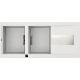 ELLECI SIREX ÉVIER ÉLECTRONIQUE 2 CUVES BLANC 116x50 MADE IN ITALY