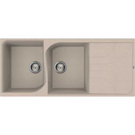 ELLECI KITCHEN SINK EGO 500 2 BOWLS OATMEAL MADE IN ITALY
