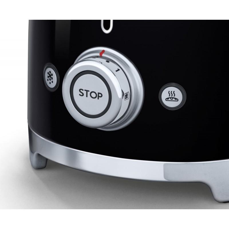 smeg 50er jahre retro stil 2 scheiben toaster tsf01bleu schwarz k. Black Bedroom Furniture Sets. Home Design Ideas