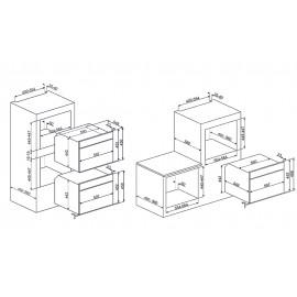 SMEG COMPACT COMBI MICROWAVE OVEN SF4140MC STAINLESS STEEL LINEA DESIGN 60 CM