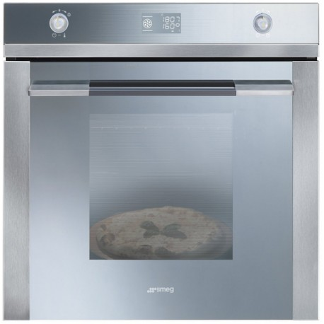 SMEG THERMOVENTILATED PIZZA OVEN SF122PZ STAINLESS STEEL AND SILVER GLASS 60 CM