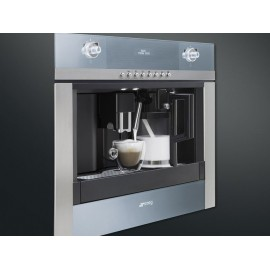 SMEG BUILT-IN COFFEE MACHINE WITH CAPPUCCINO MAKER CMSC451 STAINLESS STEEL AND SUPELSILVER GLASS 60 CM