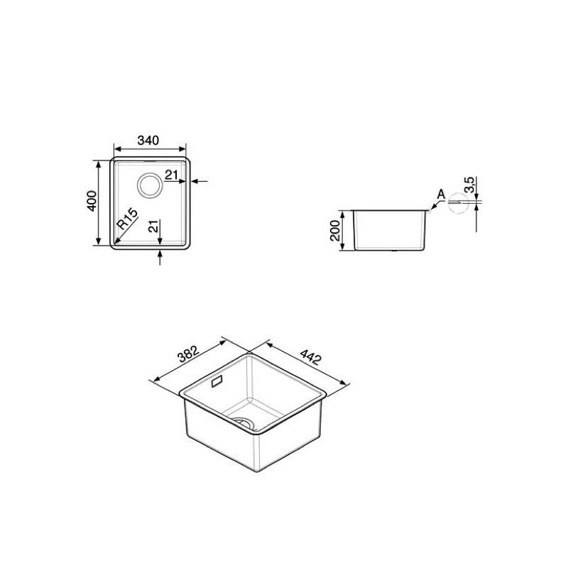 smeg vstr34 2 mira vier encastrable sous plan 1 cuve. Black Bedroom Furniture Sets. Home Design Ideas
