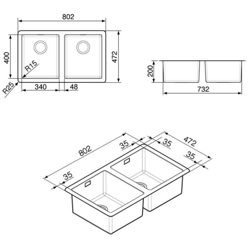 Smeg vstr3434 2 fregadero bajo de encimera de doble seno for Dimensiones fregadero