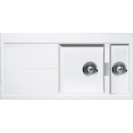SCHOCK KITCHEN SINK HORIZONT D150 A - 1.5 BOWL CRISTADUR POLARIS EXTRA WHITE