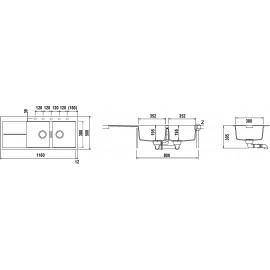 SCHOCK HORIZONT D200 A ÉVIER 2 CUVES CRISTADUR POLARIS EXTRA WHITE