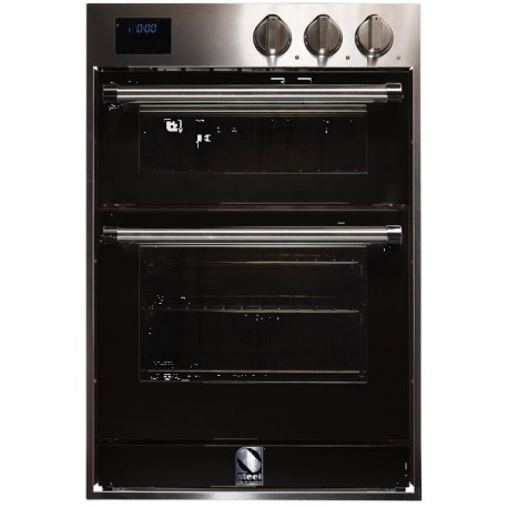 STEEL MULTIFUNCTION DOUBLE OVEN GENESI SERIES GFFE6 STAINLESS STEEL AND BLACK 60 CM EEC A
