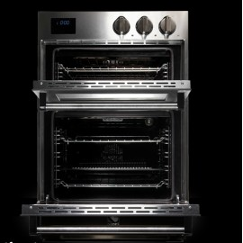 STEEL MULTIFUNCTION DOUBLE OVEN GENESI SERIES GFFE6 STAINLESS STEEL AND AMETHYST 60 CM EEC A