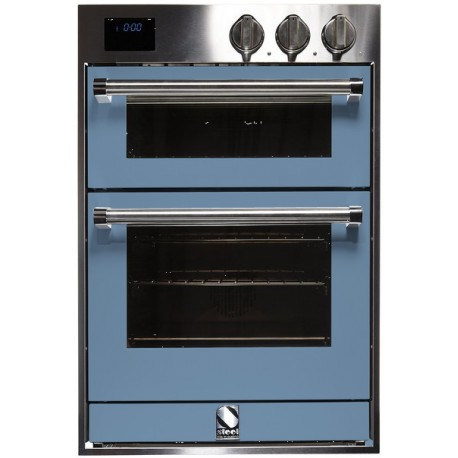 STEEL MULTIFUNCTION DOUBLE OVEN GENESI SERIES GFFE6 STAINLESS STEEL AND PASTEL BLUE 60 CM EEC A