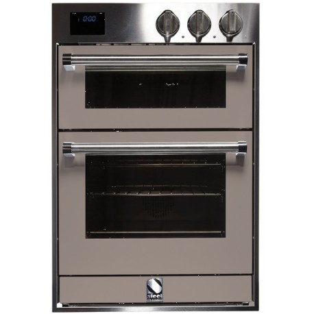 STEEL MULTIFUNCTION DOUBLE OVEN GENESI SERIES GFFE6 STAINLESS STEEL AND SAND 60 CM EEC A