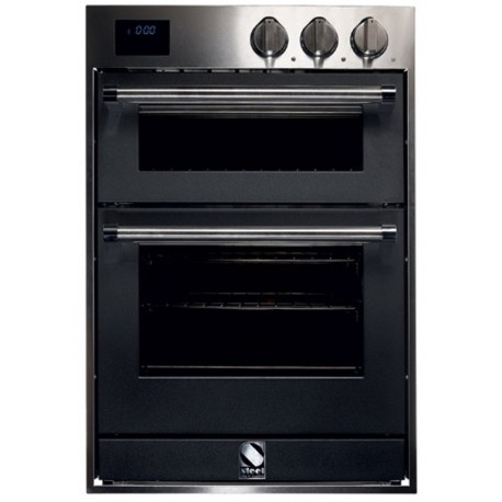 STEEL DOUBLE OVEN MULTIFUNCTION COMBI-STEAM OVEN GENESI SERIES GFFE6-S STAINLESS STEEL AND ANTHRACITE 60 CM EEC A